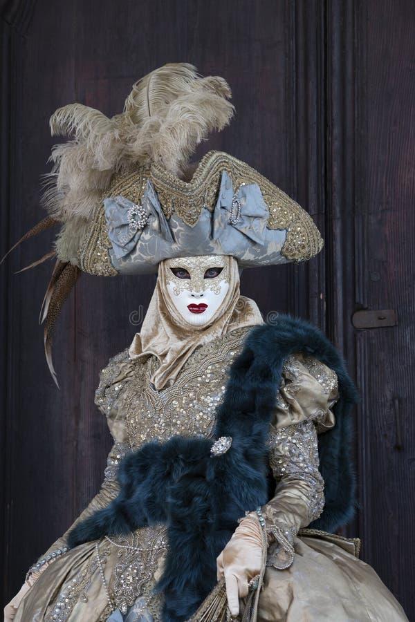 在一个五颜六色的金子和灰色服装和面具威尼斯的威尼斯式狂欢节形象 图库摄影