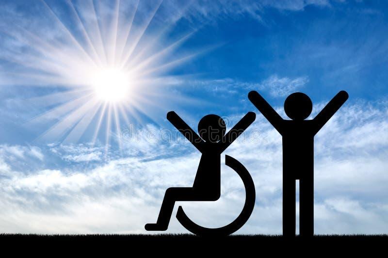 在一个健康人旁边的愉快的残疾人 库存照片