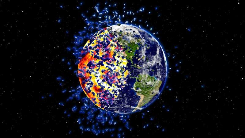 在一个全球性灾害,默示录小行星冲击地球以后接地燃烧或爆炸 向量例证