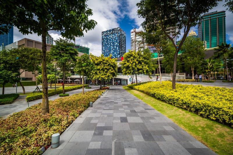 在一个公园和摩天大楼的走道Bonifacio全球性市的, T的 免版税库存照片