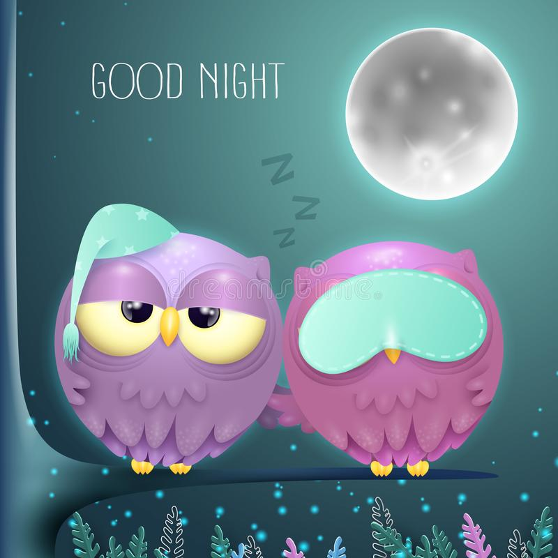 在一个分支的困猫头鹰夫妇有满月夜背景 向量例证