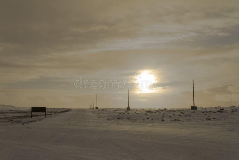 在一个北极风景的日落 图库摄影