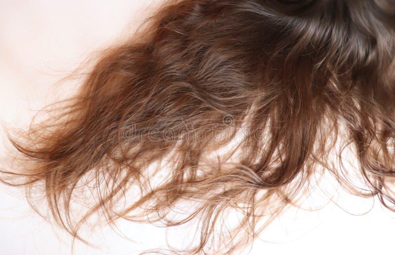 在一个十几岁的女孩的长的波浪棕色头发 库存图片