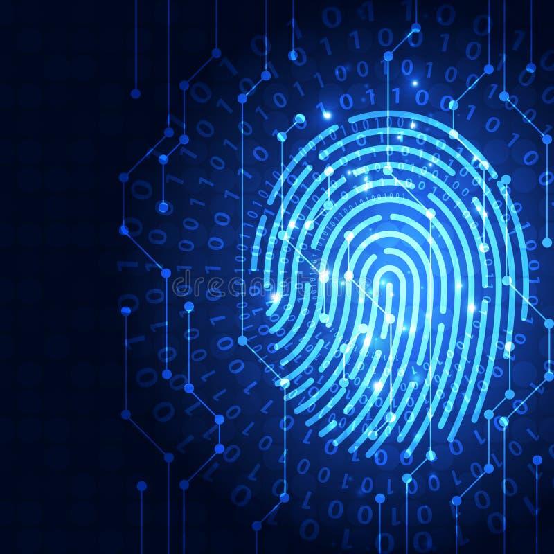 在一个印制电路集成的指纹,发布二进制编码 指纹扫描的鉴定系统安全概念 向量例证