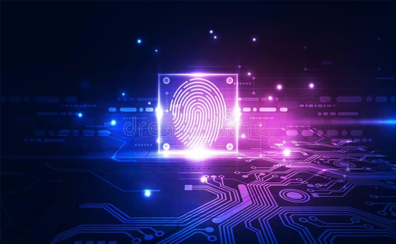 在一个印制电路集成的指纹,发布二进制编码 指纹扫描的鉴定系统 ?? 向量例证