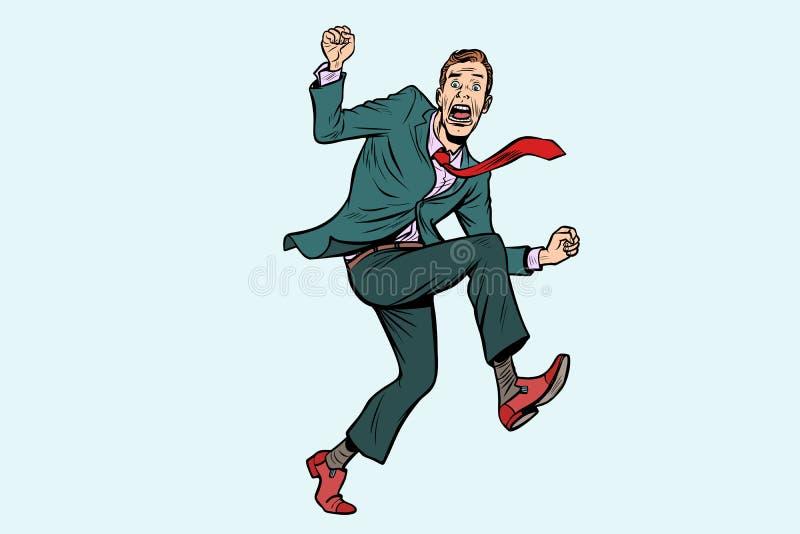在一个可笑姿势跳跃的滑稽的人 向量例证