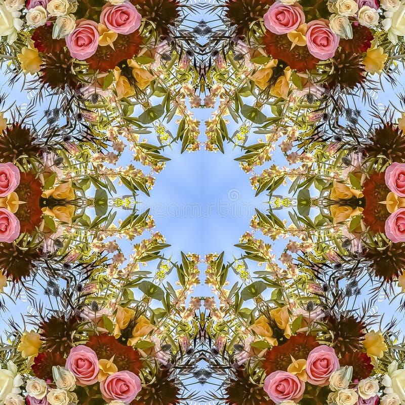 在一个圆样式的正方形繁忙的花卉设计与玫瑰和其他花 免版税库存照片