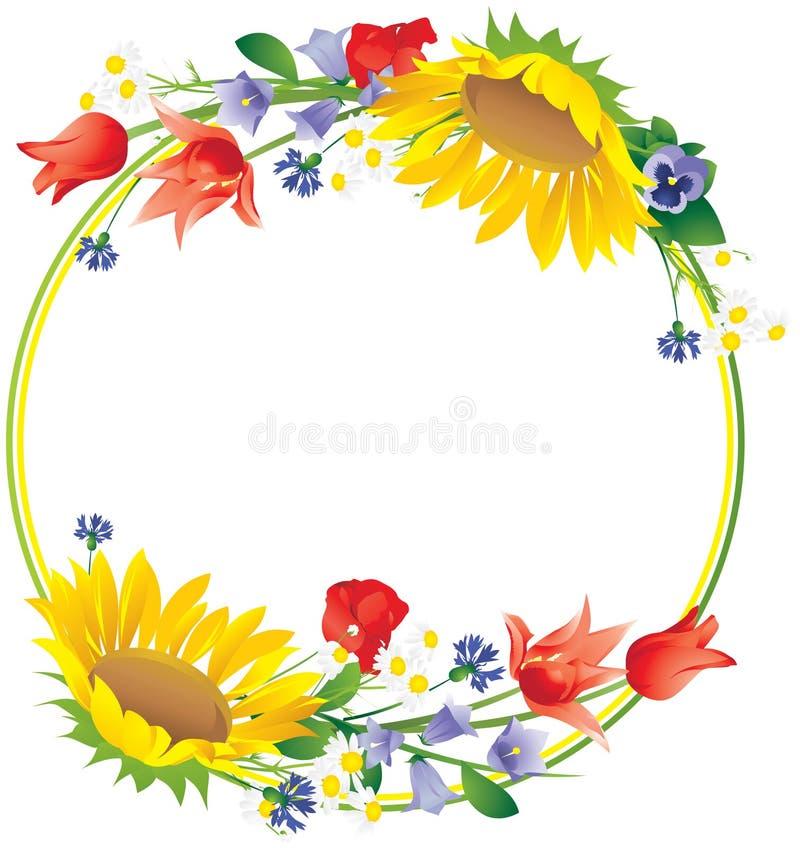 在一个圆的框架附近的野花 免版税库存照片