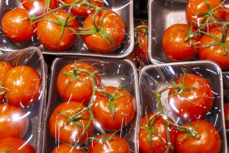 在一个塑料盒的新鲜的蕃茄在一部透明影片下 免版税库存图片