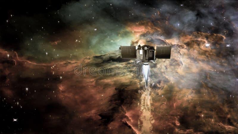 在一个外层空间的航天器在星云云彩背景和星系担任主角 免版税库存照片