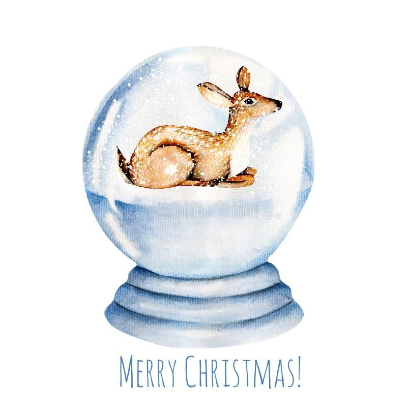 在一个多雪的玻璃球里面的逗人喜爱的水彩鹿 免版税图库摄影