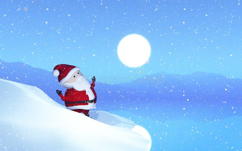 在一个多雪的风景的3D圣诞老人 皇族释放例证