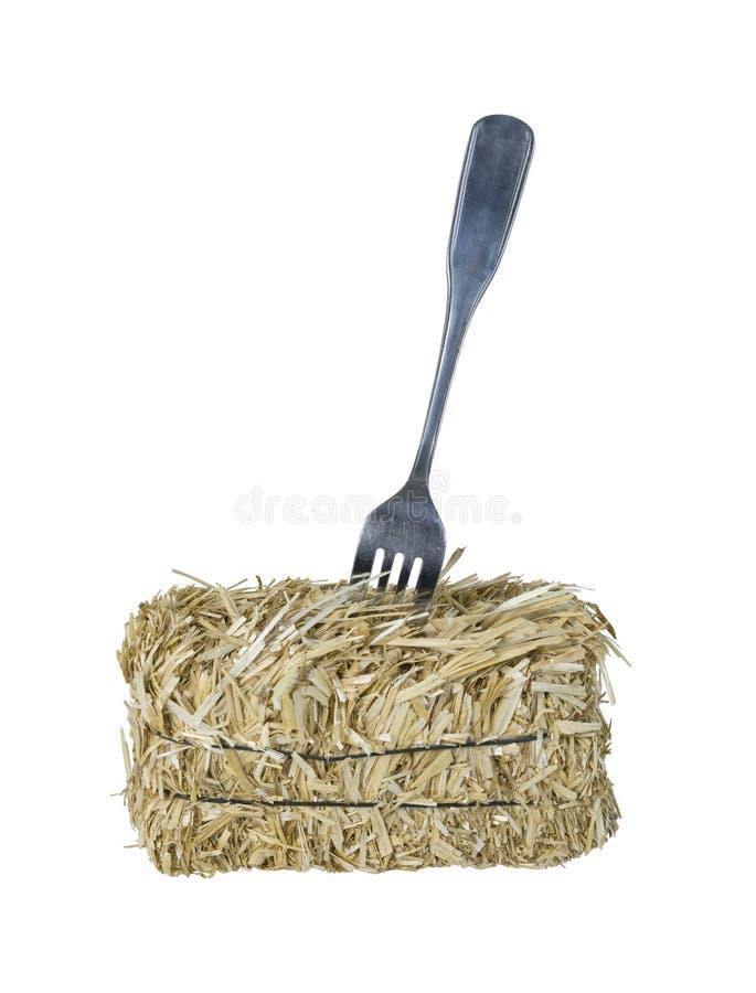 在一个大包的叉子干草 免版税库存图片