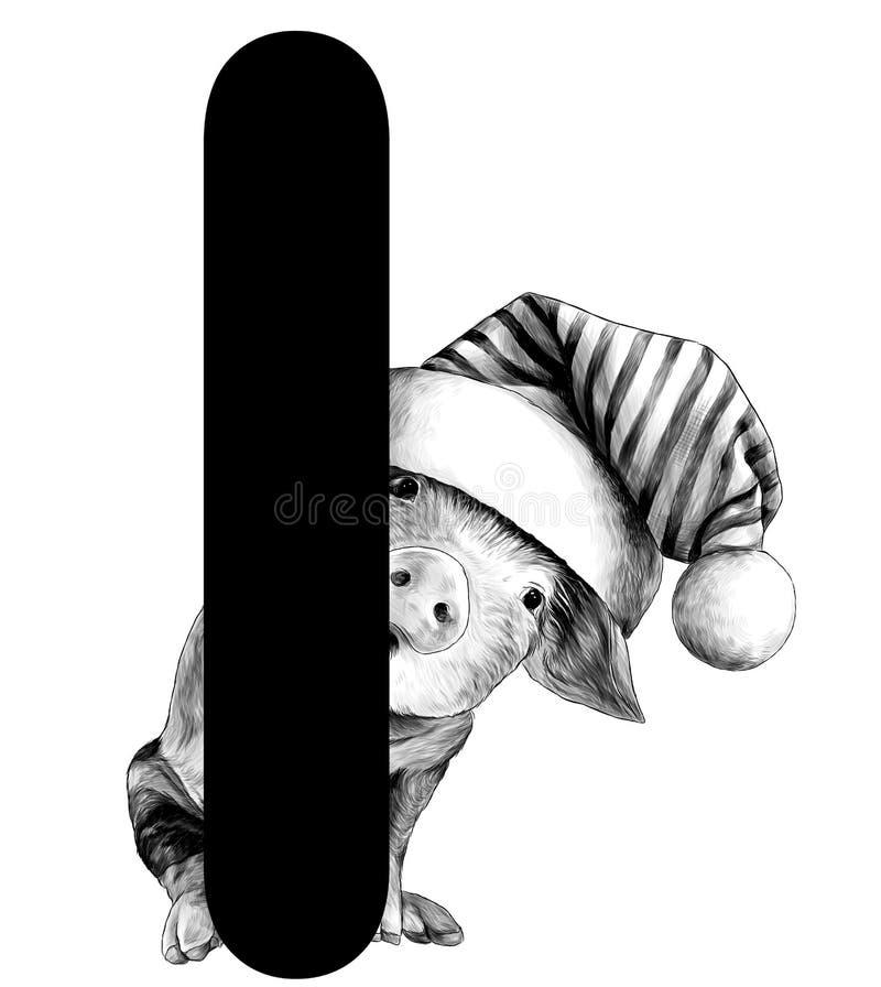 在一个大帽子的一点圣诞节猪有大型机关炮的偷看从我分开词圣诞节的信件的后面 向量例证
