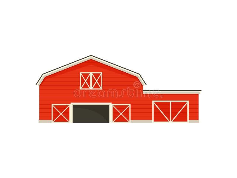 在一个大谷仓旁边的小车库 r 库存例证