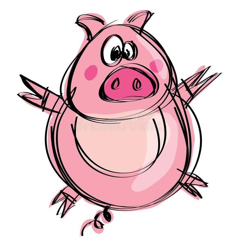 在一个天真的幼稚图画样式的动画片天真的小猪 皇族释放例证