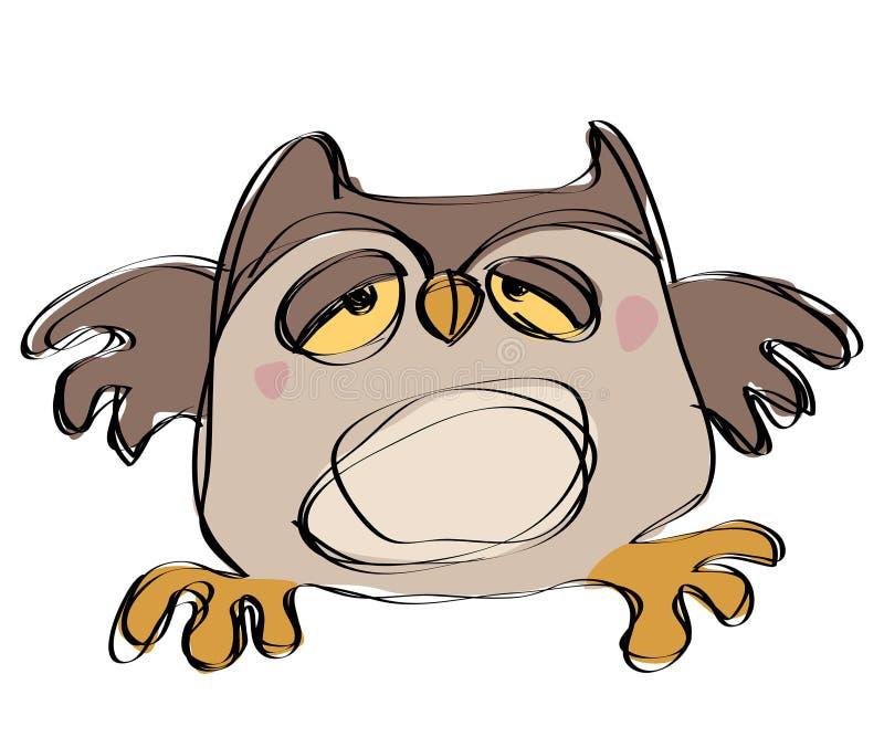 在一个天真的幼稚图画样式的动画片棕色小猫头鹰 向量例证