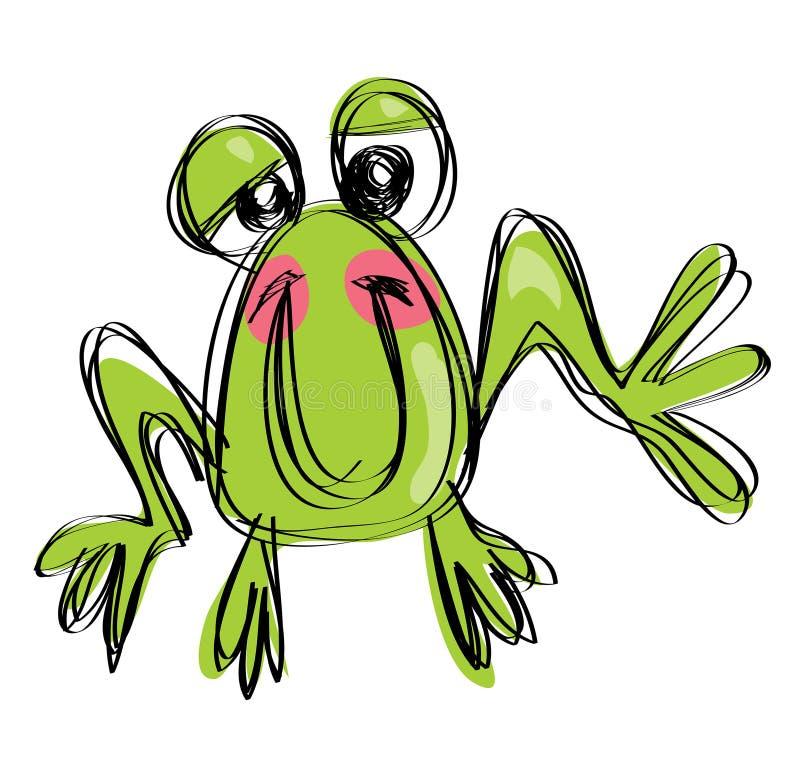 在一个天真的幼稚图画样式的动画片婴孩微笑的青蛙 库存例证