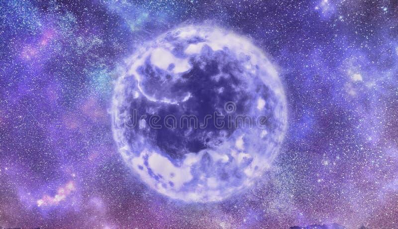 在一个太空星群的外层空间的摘要艺术性的独特的紫色太阳充满星 库存照片