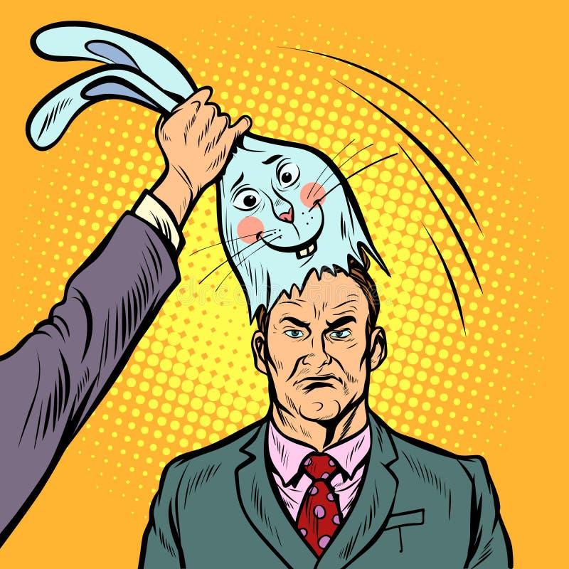 在一个好兔宝宝的面具的下消极人 向量例证