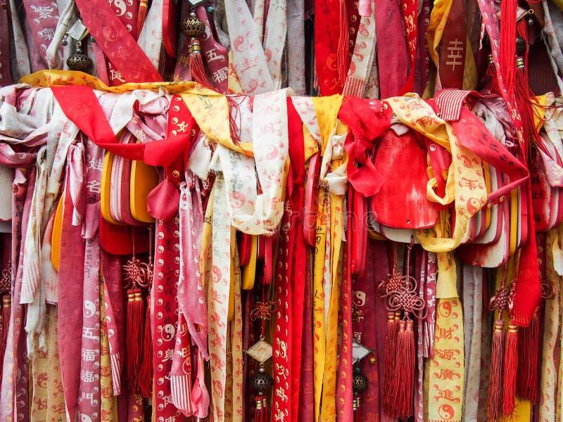 在一个寺庙的丝带在大理中国 免版税库存照片