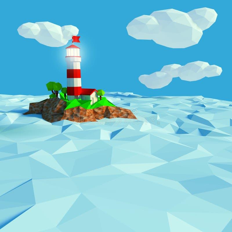 在一个小海岛上的灯塔在海 皇族释放例证