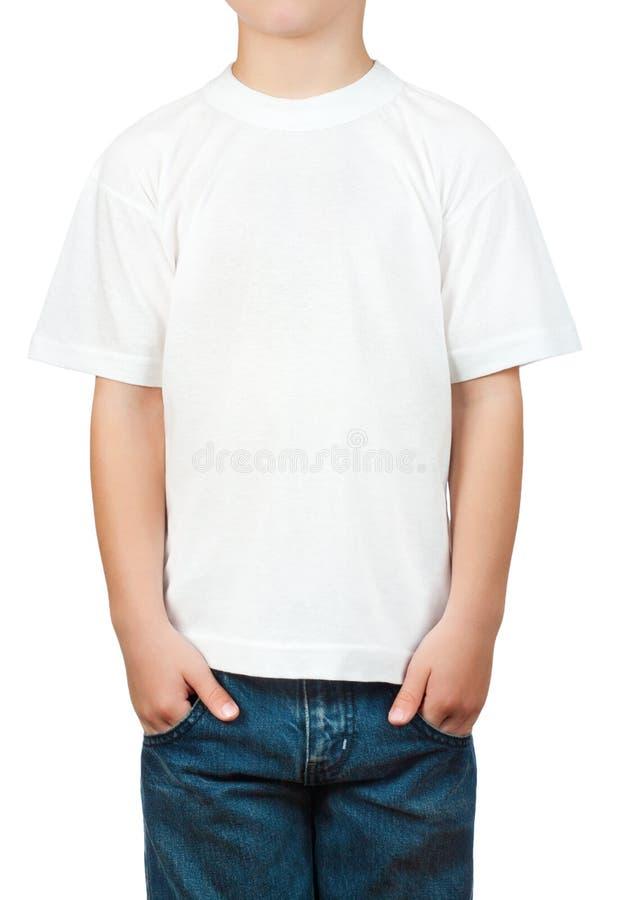 在一个小男孩的空白T恤杉 免版税图库摄影