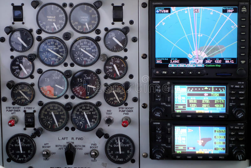 在一个小航空器的测量仪 图库摄影