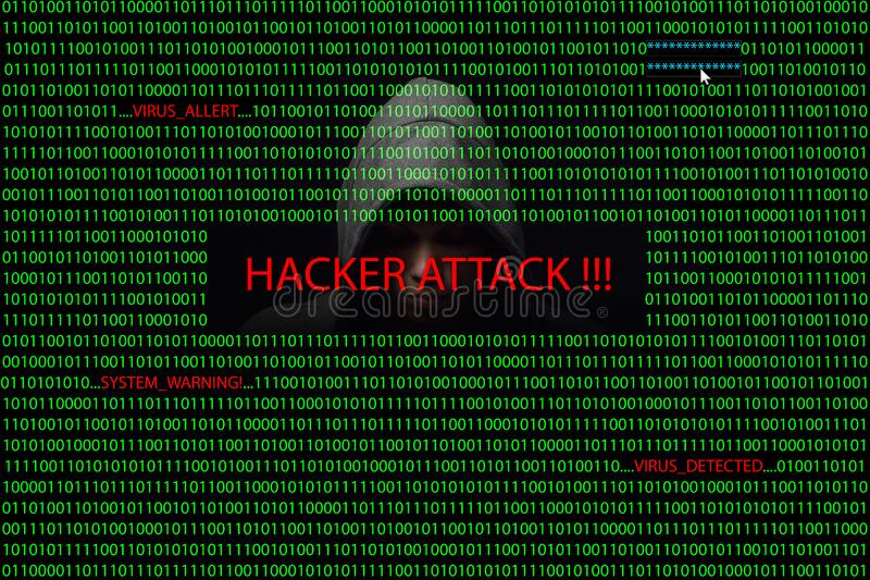 在一个屏幕的黑客有二进制编码和报警信息的 皇族释放例证