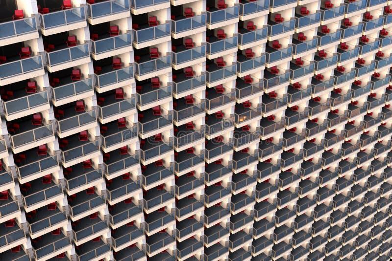 在一个巨大和过度拥挤的公寓的穿制服的看的公寓 库存照片