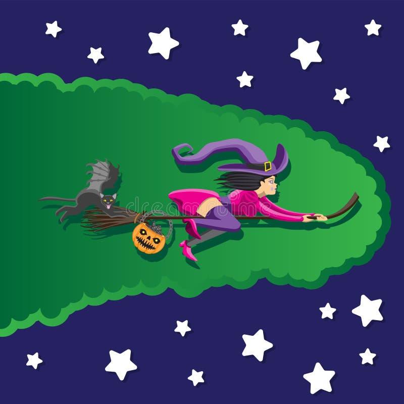 在一个帚柄在一个帽子有猫的和巧克力篮子的巫婆飞行  盖子的背景的例证  库存例证