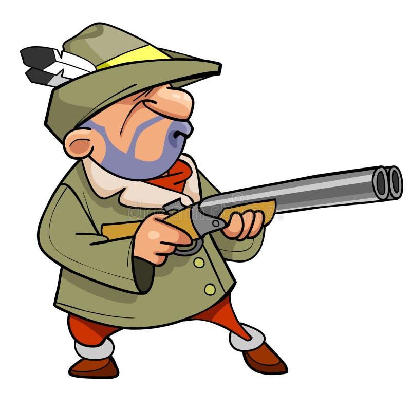 在一个帽子的动画片猎人有羽毛的,拿着枪 向量例证