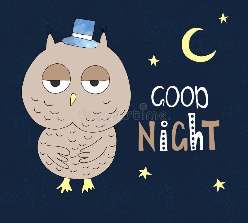 在一个帽子的手拉的猫头鹰与手拉的字法晚上好 能为T恤杉设计使用 库存例证