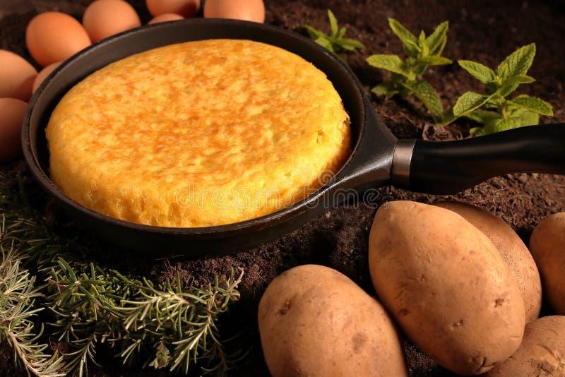 在一个平底锅的土豆玉米粉薄烙饼用鸡蛋和土豆 库存图片