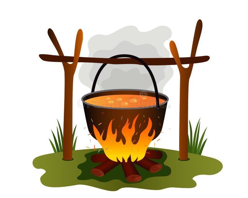 在一个平底锅的煮沸的午餐本质上 锅炉和篝火在夏令营 绿色旅游业和休闲的概念 o 皇族释放例证