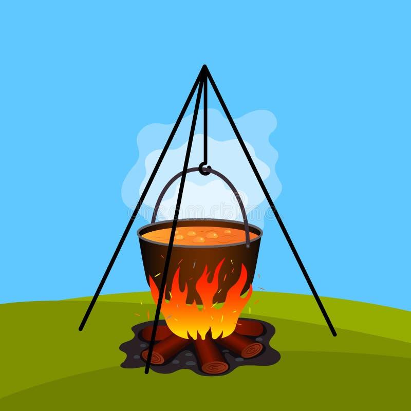 在一个平底锅的煮沸的午餐本质上 锅炉和篝火在夏令营 绿色旅游业和休闲的概念 o 向量例证