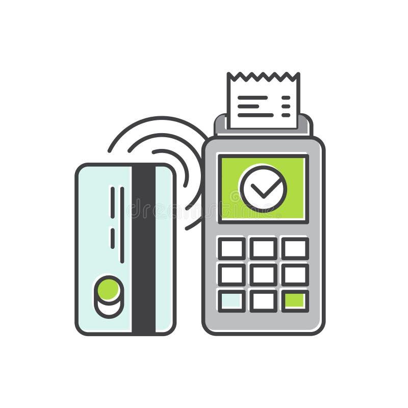 在一个平的样式的不接触的付款购买传染媒介象 由借方或信用卡和POS终端的无线银行付款 库存例证