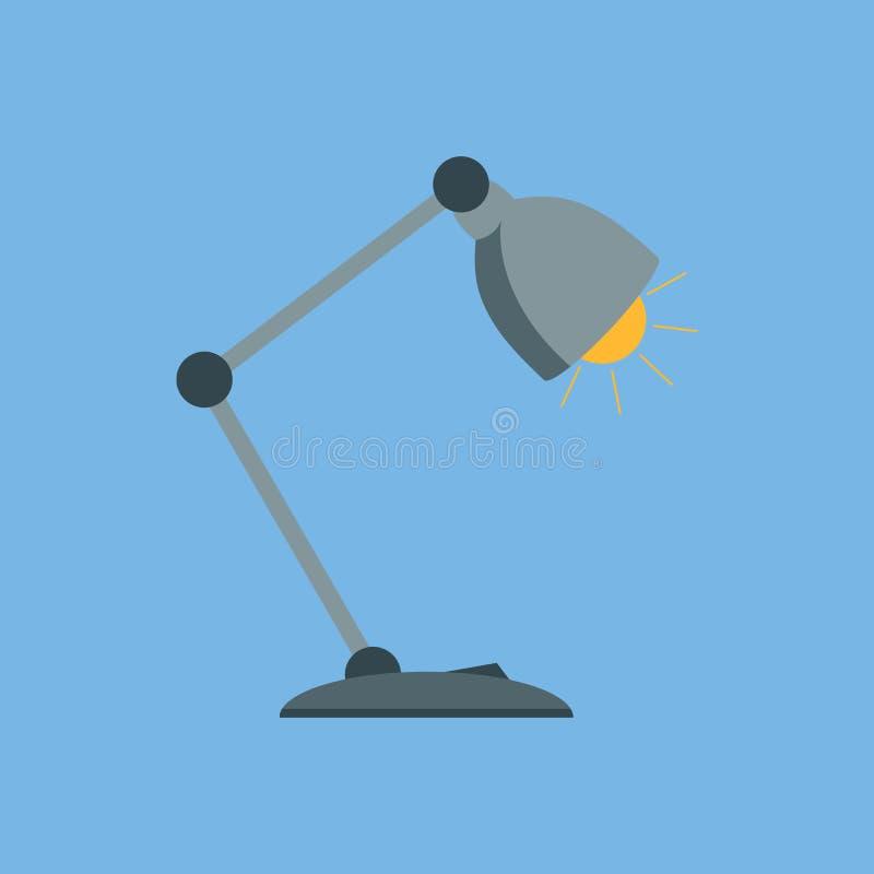 在一个平的样式的台灯 台灯象 库存例证