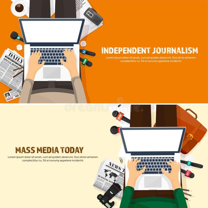在一个平的样式的大众传播媒体背景 与通讯员和记者的新闻招待会 播放 多媒体新闻 库存例证