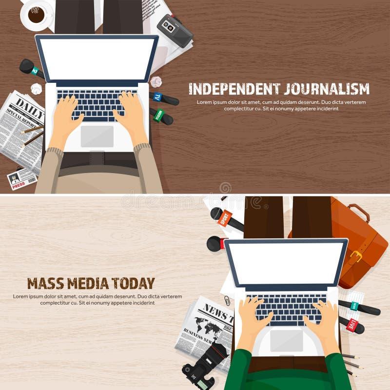 在一个平的样式的大众传播媒体背景 与通讯员和记者的新闻招待会 播放 多媒体新闻 向量例证