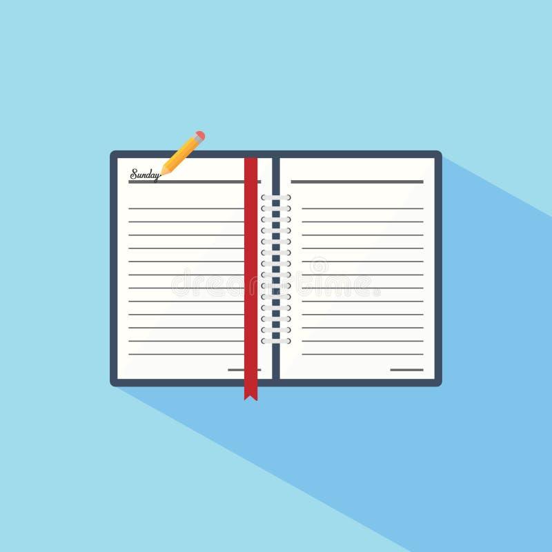 在一个平的样式象的笔记本 皇族释放例证