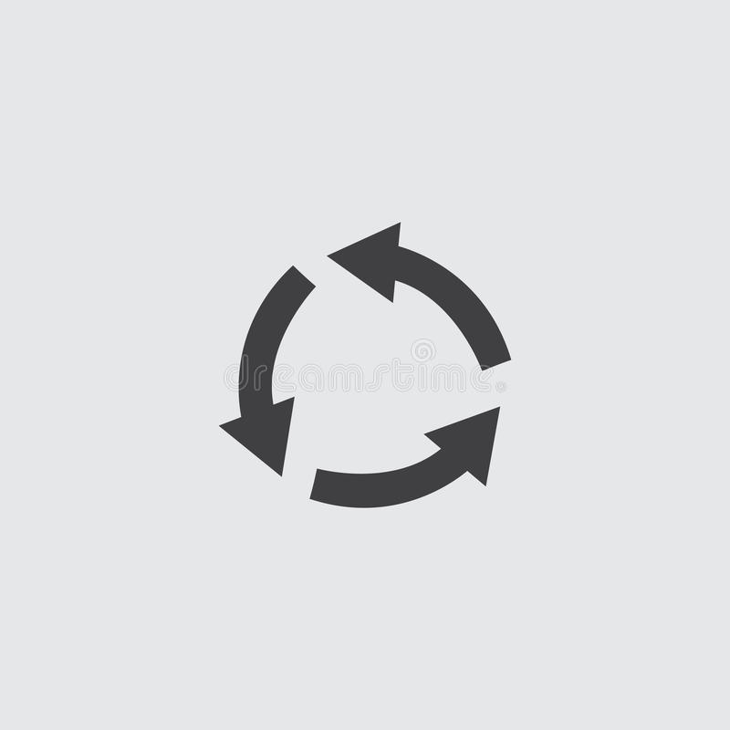 在一个平的设计的圆箭头象在黑颜色 向量例证EPS10 库存例证