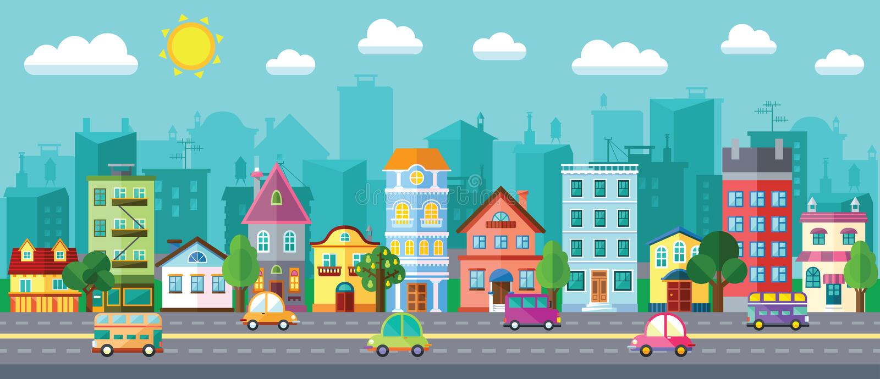 在一个平的设计的城市街道 免版税图库摄影