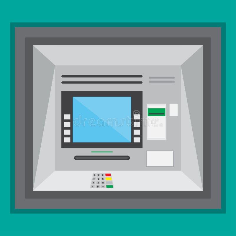 在一个平的设计的室外ATM机器 向量例证EPS10 库存例证
