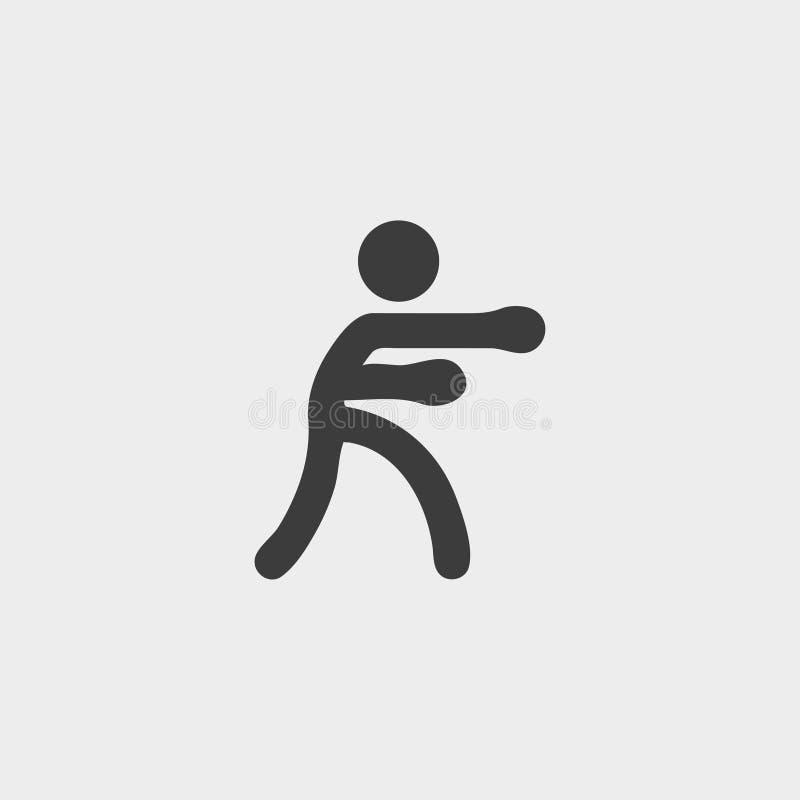 在一个平的设计的拳击手象在黑颜色 向量例证EPS10 向量例证