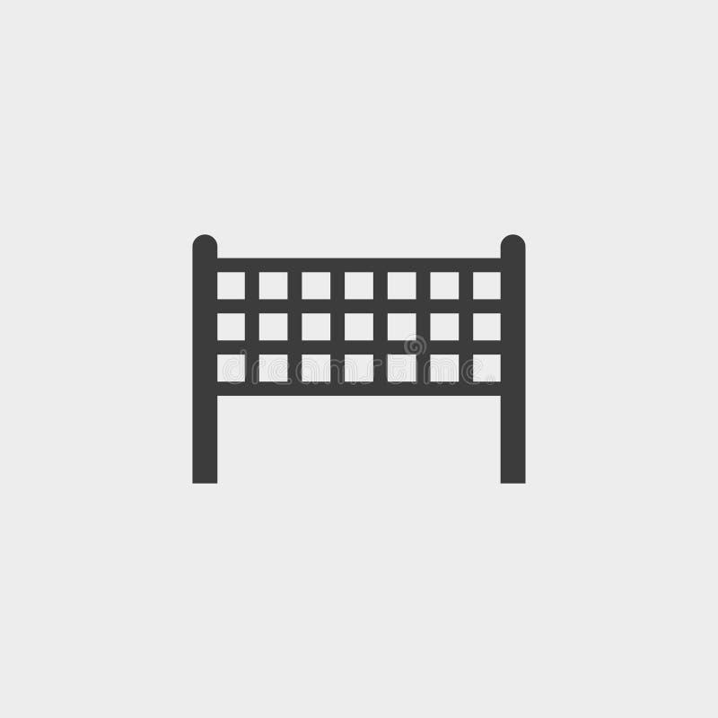 在一个平的设计的排球净象在黑颜色 向量例证EPS10 库存例证