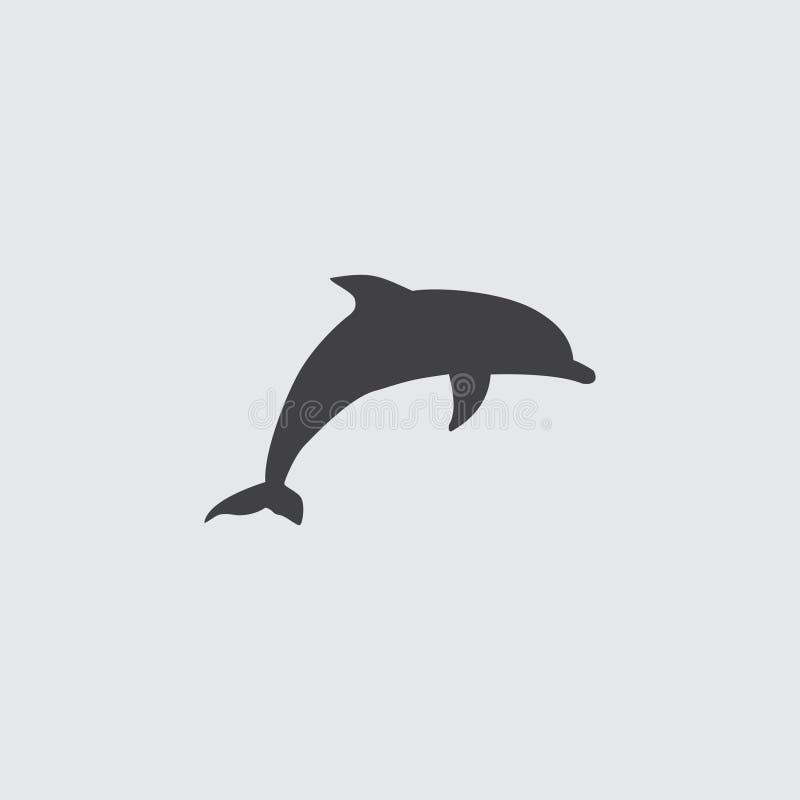 在一个平的设计的海豚象在黑颜色 向量例证EPS10 库存例证