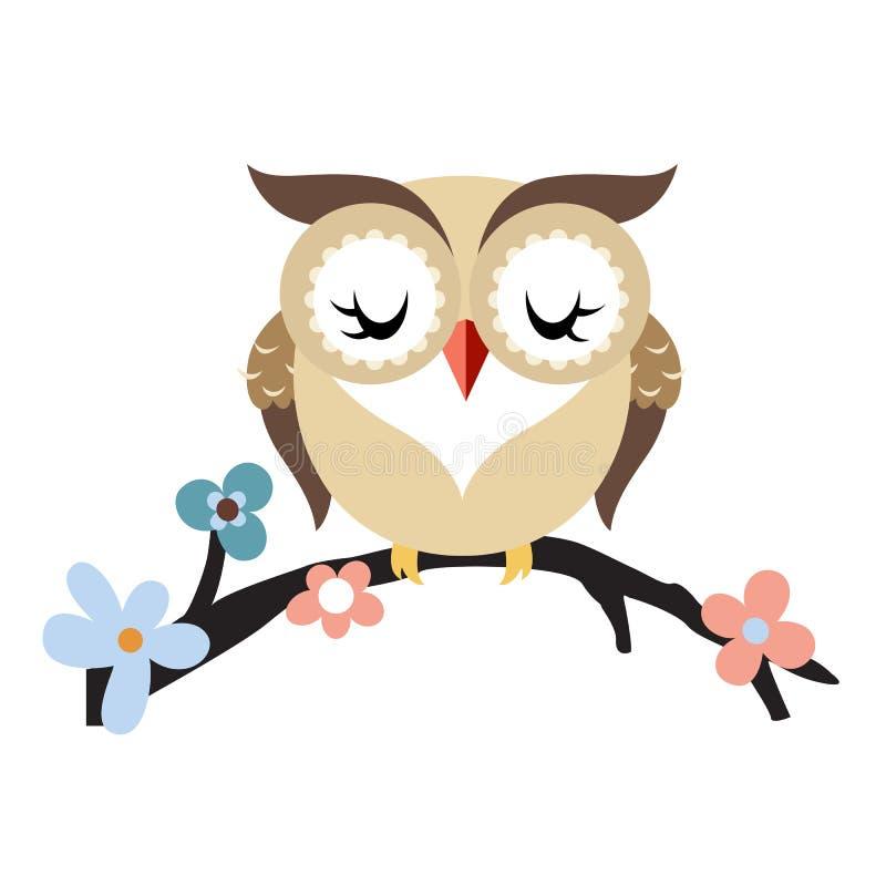 在一个开花的树分支的动画片猫头鹰 库存例证