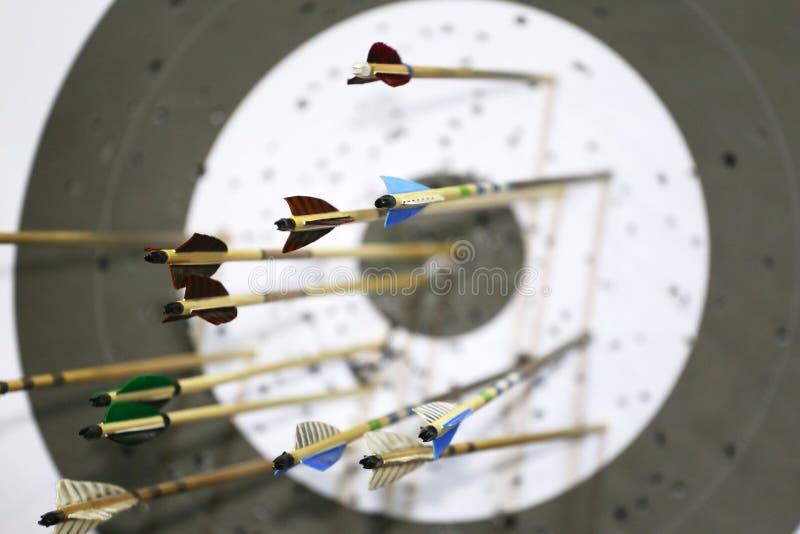 在一个弓靶场的目标与在他们的箭头 免版税图库摄影
