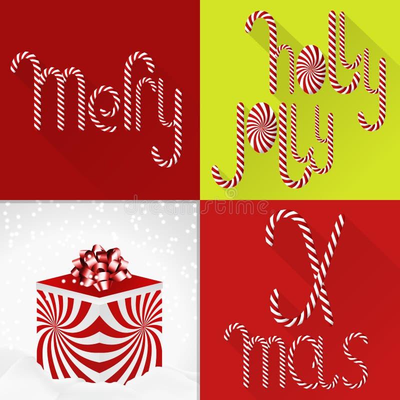 在一个当代五颜六色的瓦片设计的圣诞卡与手工制造甜Lolli字体和礼物盒 库存例证